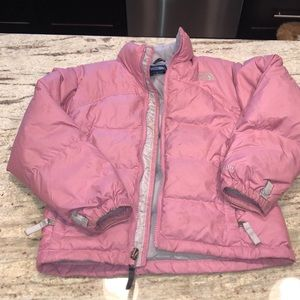 Pink puffer north face jacket